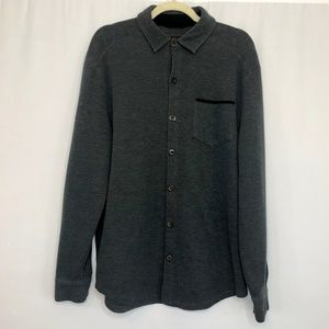 Tasso Elba Dark Gray Knit Button Shirt Medium